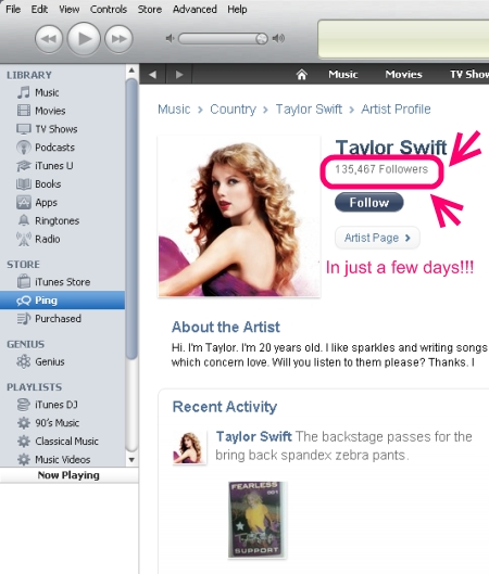iTunes Ping - Taylor swift